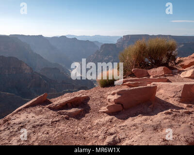 High View of the Colorado River flowing through the Grand Canyon - Stock Photo
