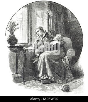 Engraving depicting a mother looking out of the window as her son sleeps in her arms. Dated 19th century - Stock Photo