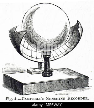 Engraving depicting a Campbell–Stokes recorder, a kind of sunshine recorder, invented by John Francis Campbell and later modified by Sir George Gabriel Stokes. John Francis Campbell (1821-1885) a Scottish author and scholar. Sir George Stokes, 1st Baronet (1819-1903) an Irish physicist and mathematician. Dated 19th century - Stock Photo