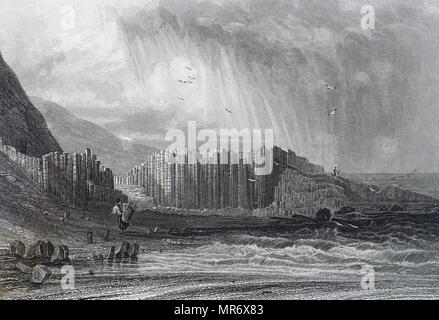 Engraving depicting the Giant's Causeway,  an area of about 40,000 interlocking basalt columns, the result of an ancient volcanic eruption. Dated 19th century - Stock Photo