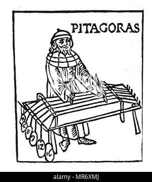 Woodcut engraving depicting Pythagoras an Ionian Greek philosopher and the eponymous founder of the Pythagoreanism movement. Dated 15th century - Stock Photo
