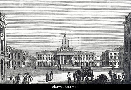 Engraving depicting the Royal Palace of Brussels,  the official palace of the King and Queen of the Belgians in the centre of the nation's capital Brussels. Dated 19th century - Stock Photo