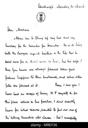 Facsimile of a letter by William Makepeace Thackeray. William Makepeace Thackeray (1811-1863) a British novelist and author. Dated 19th century - Stock Photo
