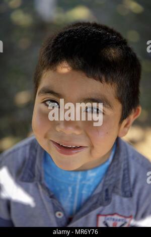 Cholchol, La Araucania, Chile: A Mapuche boy. - Stock Photo