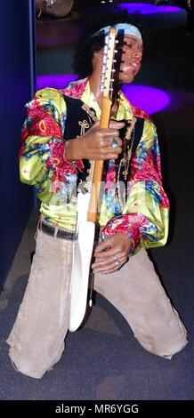 Waxwork statue of Jimi Hendrix (1942 – 1970), an American rock guitarist, singer, and songwriter. - Stock Photo