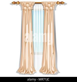The ornate curtain in the interior. Vector illustration. - Stock Photo