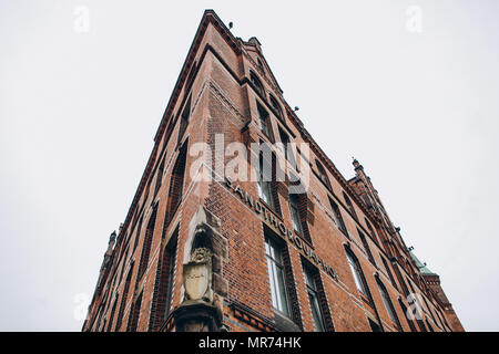 HAMBURG, GERMANY - SEP 4, 2016: low angle view of Sandthorquaihof in the Speicherstadt district, Hamburg, Germany, Europe - Stock Photo