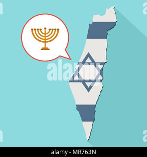 Illustration of a long shadow Israel map with its flag and a comic balloon with a Menorah icon - Stock Photo