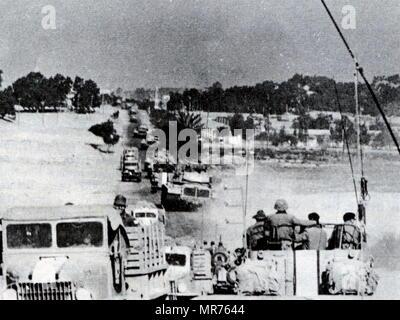 Six Day War, Rafah Gaza. Israeli approaching Khan Yunis, a Palestinian city in the Gaza Strip. - Stock Photo