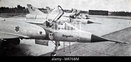 Israel Air Force, Dassault Mirage III, single-seat, single-engine, fighter, aircraft, deployed in the Six Day War 1967 - Stock Photo
