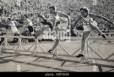 Photograph of Mildred Ella 'Babe' Didrikson Zaharias (1911 - 1956)  winning the 80m Hurdles at the 1932 Olympic games. Babe gained world fame in track and field and All-American status in basketball. - Stock Photo