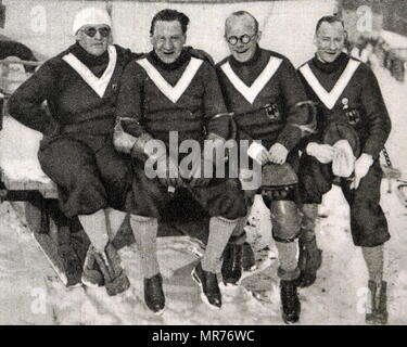 Photograph of the German Bobsleigh team at the 1932 winter Olympic games. (from left to right) Hans Kilian (1905 - 1981), Max Ludwig (1896 - unknown), Hans Mehlhorn (1900 - 1983) and Sebastian 'Wastl' Huber (1901 - 1985). - Stock Photo