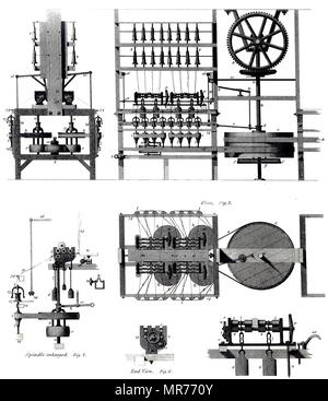 Engraving depicting Richard Arkwright's water fame spinning machine. Sir Richard Arkwright (1732-1792) an English inventor and a leading entrepreneur during the Industrial Revolution. Dated 19th century - Stock Photo
