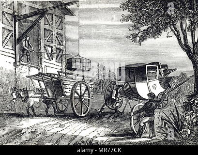 Engraving depicting mechanical forces. A horse pulling a cart along a road exercises an animal force. The coachman supporting the carriage from which the wheel has been removed is using pressure. The man hammering the wheel is using impact. Dated 19th century - Stock Photo