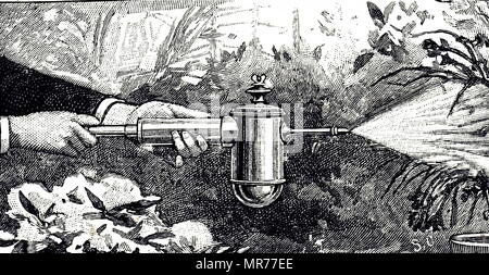 Engraving depicting a syringe with reservoir for use as a disinfectant spray or as spray for plants and flowers. Dated 19th century - Stock Photo