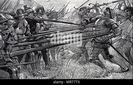 Engraving depicting Arnold von Winkelried's sacrifice at the Battle of Sempach. Arnold von Winkelried was a legendary hero of Swiss history. Dated 19th century - Stock Photo