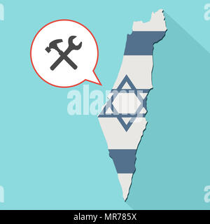 Illustration of a long shadow Israel map with its flag and a comic balloon with a tool set - Stock Photo
