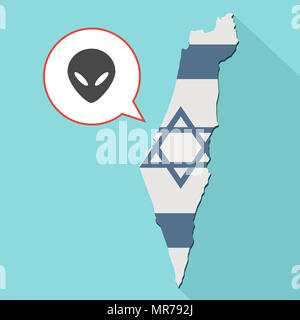 Illustration of a long shadow Israel map with its flag and a comic balloon with alien face - Stock Photo
