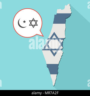 Illustration of a long shadow Israel map with its flag and a comic balloon with islam and judaism religions symbols - Stock Photo