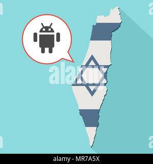 Illustration of a long shadow Israel map with its flag and a comic balloon with a android operating system symbol - Stock Photo