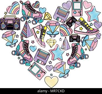 doodle old retro things decoration inside art heart - Stock Photo