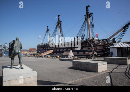 HMS Victory in Portsmouth Historic Dockyards, Sussex, UK - Stock Photo