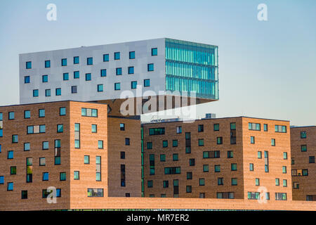 Modern office building along the Spree River in East Berlin. It's look like it floating in the air. - Stock Photo