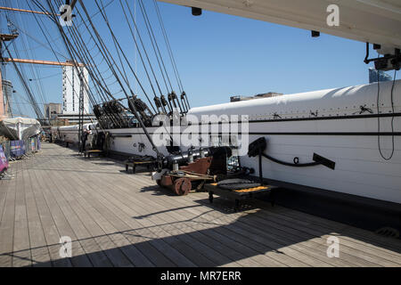 HMS Warrier in Portsmouth Historic Dockyards, UK - Stock Photo