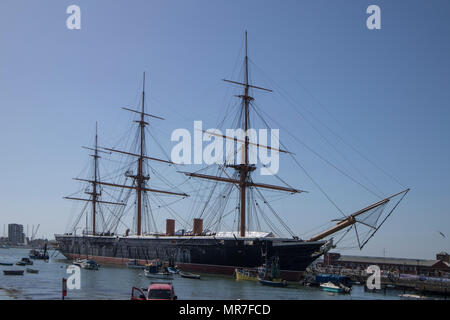 HMS Warrior in Portsmouth Historic Dockyards, Sussex, UK - Stock Photo