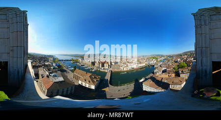 Aerial panorama of the historic center of Zurich - Stock Photo