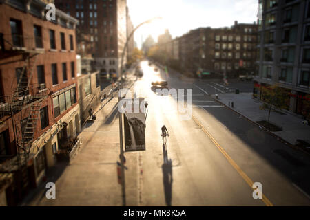 NEW YORK, NY/USA – NOVEMBER 15th, 2015: New York landscape. Sunrise from the High Line (between 23rd St. and 10th Ave.) - Stock Photo