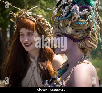 NEW YORK, NY/USA – June 18, 2016: Participants at the Mermaid Parade in Coney Island, Brooklyn - Stock Photo