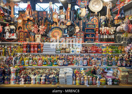 Colorful tourist items for sale at the Central Market in the Pest section of Budapest, Hungary. - Stock Photo