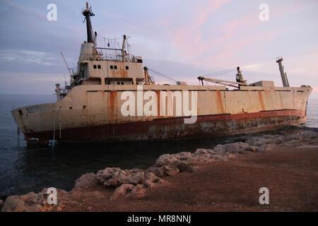 Abandoned ship Edro 3 near coral bay sea caves Cyprus. - Stock Photo