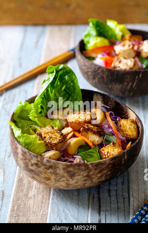 Vietnamese style salad with tofu and vermicelli noodles - Stock Photo