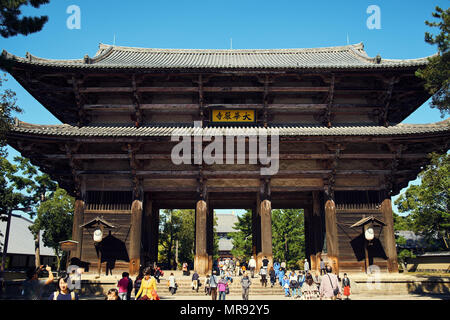 Gate at Todai-ji Temple in Nara Japan - Stock Photo