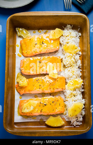 Hawaiian glazed salmon with pineapple & rice - Stock Photo