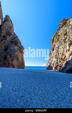 Torrent de Pareis - canyon with beautiful beach on Mallorca, Spain