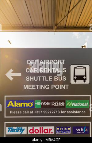 Larnaca, Cyprus. May 2018. A view of a car rental board  at Larnaca airport, Cyprus,