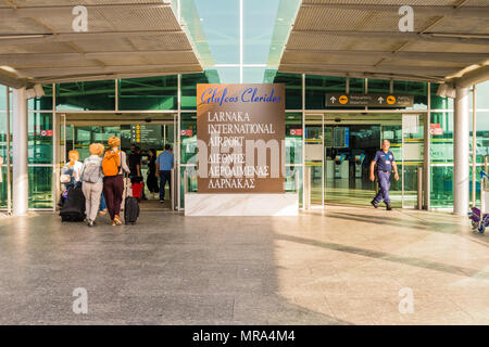 Larnaca, Cyprus. May 2018. A view of the entrance  at Larnaca airport, Cyprus, - Stock Photo