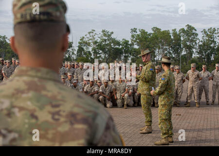 AUSTRALIAN ARMY BASE ROBORTSON BARRACKS, Darwin – Brig. Gen. Ben James, 1st Brigade Commander, Australian Defence Force, speaks to the service members who participated in Exercise Southern Jackaroo 2017 during a closing ceremony, June 1, 2017. Southern Jackaroo 2017 was a multi-lateral combined arms training activity between the U.S. Marines, Australian Army, U.S. Army and Japan Ground Self-Defense Force that allowed participants to train and share military tactics. (U.S. Marine Corps photo by Lance Cpl. Damion Hatch Jr) - Stock Photo