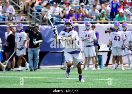 Foxborough, Mass. 26th May, 2018. Albany Great Danes defender Troy Reh (10) passes the ball during the NCAA Division I Lacrosse semi final between Yale and Albany, held at Gillette Stadium, in Foxborough, Mass. Eric Canha/CSM/Alamy Live News - Stock Photo