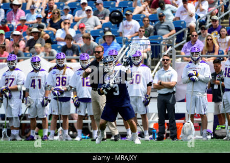 Foxborough, Mass. 26th May, 2018. Yale Bulldogs midfielder Joseph Sessa (3) passes the ball during the NCAA Division I Lacrosse semi final between Yale and Albany, held at Gillette Stadium, in Foxborough, Mass. Eric Canha/CSM/Alamy Live News - Stock Photo