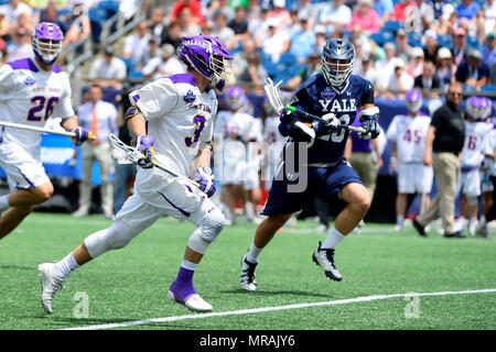 Foxborough, Mass. 26th May, 2018. Albany Great Danes face-off TD Ierlan (3) charges to the net with the ball during the NCAA Division I Lacrosse semi final between Yale and Albany, held at Gillette Stadium, in Foxborough, Mass. Eric Canha/CSM/Alamy Live News - Stock Photo