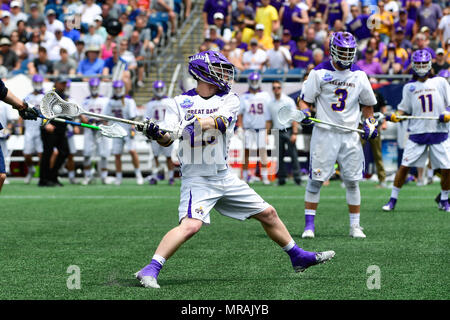 Foxborough, Mass. 26th May, 2018. Albany Great Danes midfielder Jack Burgmaster (23) shoots and scores during the NCAA Division I Lacrosse semi final between Yale and Albany, held at Gillette Stadium, in Foxborough, Mass. Eric Canha/CSM/Alamy Live News - Stock Photo