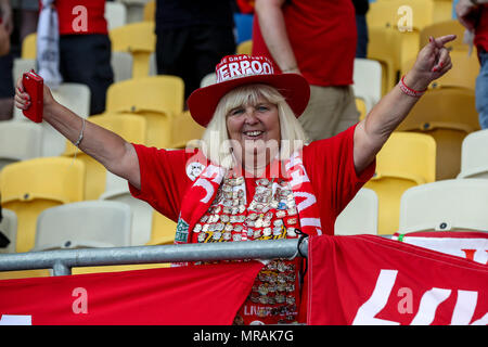 Kiev Olympic Stadium, Kiev, Ukraine. 26th May, 2018. UEFA Champions League Final, Real Madrid versus Liverpool; Liverpool fans get animated before the game Credit: Action Plus Sports/Alamy Live News - Stock Photo