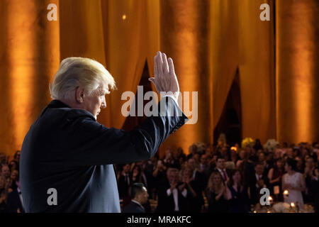 WASHINGTON, DC - WEEK OF MAY 21: President Donald J. Trump waves to the audience at the Susan B. Anthony List's 11th Annual Campaign for Life Gala at the National Building Museum, Tuesday, May 22, 2018, in Washington, DC   People:  President Donald Trump - Stock Photo