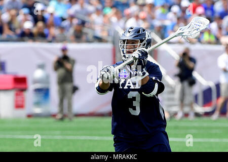 Foxborough, Mass. 26th May, 2018. Yale Bulldogs midfielder Joseph Sessa (3) in game action during the NCAA Division I Lacrosse semi final between Yale and Albany, held at Gillette Stadium, in Foxborough, Mass. Yale defeats Albany 20-11. Eric Canha/CSM/Alamy Live News - Stock Photo