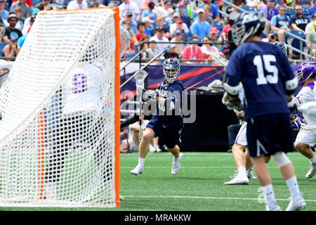 Foxborough, Mass. 26th May, 2018. Yale Bulldogs midfielder Jack Tigh (18) plays at the net during the NCAA Division I Lacrosse semi final between Yale and Albany, held at Gillette Stadium, in Foxborough, Mass. Yale defeats Albany 20-11. Eric Canha/CSM/Alamy Live News - Stock Photo