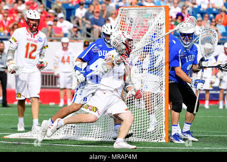 Foxborough, Mass. 26th May, 2018. Maryland Terrapins attackman Jared Bernhardt (10) charges to the net during the NCAA Division I Lacrosse semi final between Duke and Maryland, held at Gillette Stadium, in Foxborough, Mass. Duke defeats Maryland 13-8. Eric Canha/CSM/Alamy Live News - Stock Photo